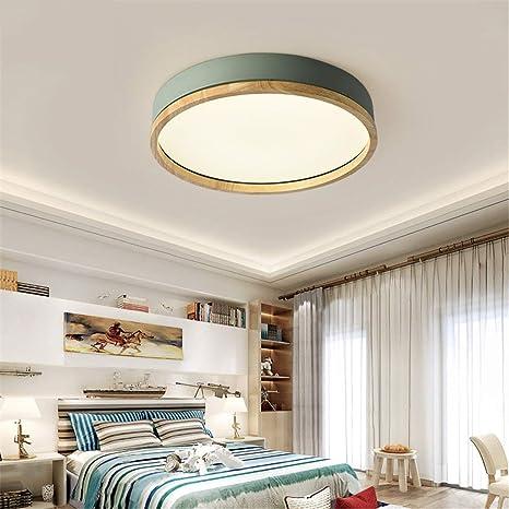 JINWELL Holz Deckenleuchte Weiß Runde Schlafzimmer Lampe ...