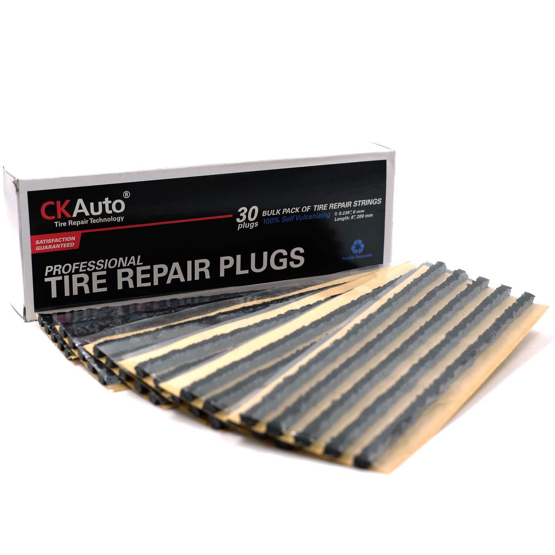 Mower CK Auto 30pcs Black Tire Repair Strings UTV ATV Bike Automotive Tool Tire Repair Plugs for Tubeless Off-Road Tires Car Wheelbarrow