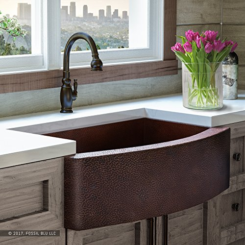 Luxury 33 inch Copper Farmhouse Kitchen Sink, Extra-thick 14-Gauge Pure Solid Copper, Artisan Hammered Finish, Single Bowl with Curved Front, includes Copper Disposal Flange, FSW1101 by Fossil Blu