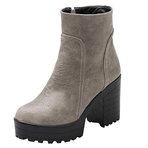 364b5ee09df707 Yogogo Damen Chelsea Boots Herbst Winter Warm Gefütterte Winterschuhe Hoher  Dicker Reißverschluss Schuhe Arbeits Stiefel Laufschuhe