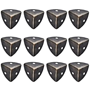 HEPAI 12 Pack Metal Box Corner Protector Vintage Brass Decorative Edge Safety Bumpers Decor Furniture Corner Hardware