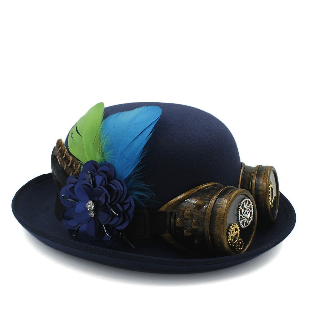 Xiaojuan-us Classic Handwork Fedora Hat Steampunk Bowler Hat Gear Glasses Cosplay Hat Halloween Feather Party Top Hat (Color : Dark Blue, Size : 58CM)