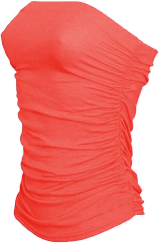SA Fashions Elegant New Ladies Side Ruched Boob Tube Bandeau Full Top Celebrity Plain Summer Beach Holidays Strapless Shirt 8-22