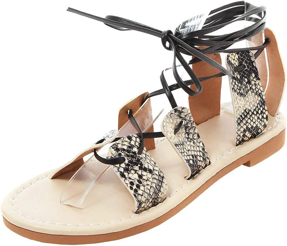 Slenderer Women Fashion Print Sandals Flats Gladiator Shoes