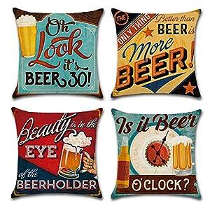 Gspirit 4 Pack Retro Cerveza Modelo Algodón Lino Throw Pillow Case Funda de Almohada para Cojín 45×45 cm