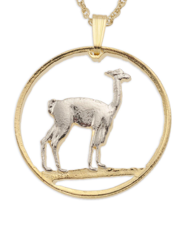 Llama pendant , Peruvian Llama jewelry, 1/18'' diameter, ( # 933 )