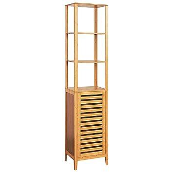 Hochschrank Badezimmer Regal Bambus Badschrank Mit Tür Und Ablagen