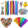 550Pcs Assorted Colors Pipe Cleaners Set,Craft Supplies including 200Pcs Pom Poms,100Pcs Pipe Cleaners Chenille Stem,200Pcs Self-Sticking Wiggle Googly Eyes,50Pcs Craft Sticks,Kids DIY Art Project Kit