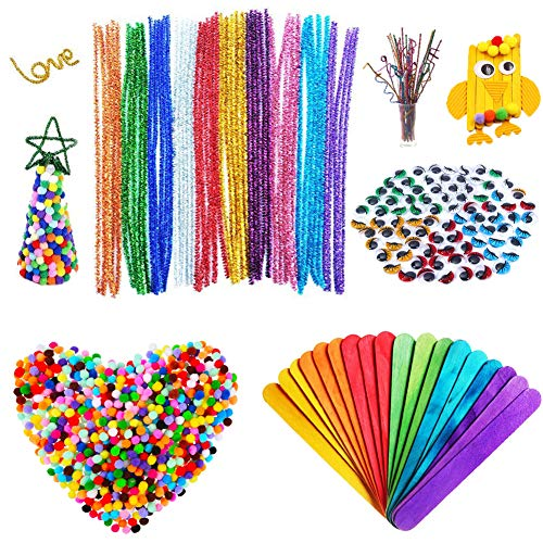 550Pcs Craft Supplies,Christmas Gifts for Kids,Pipe Cleaners Set Including Pom Poms,Glitter Chenille Stems,Wiggle Googly Eyes,Craft Sticks,DIY School Art Projects Xmas Decorations