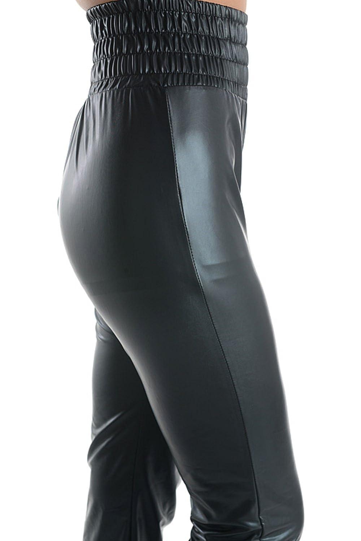 2Chique Boutique Women's Faux Leather High Elastic Waist Jogger Pants