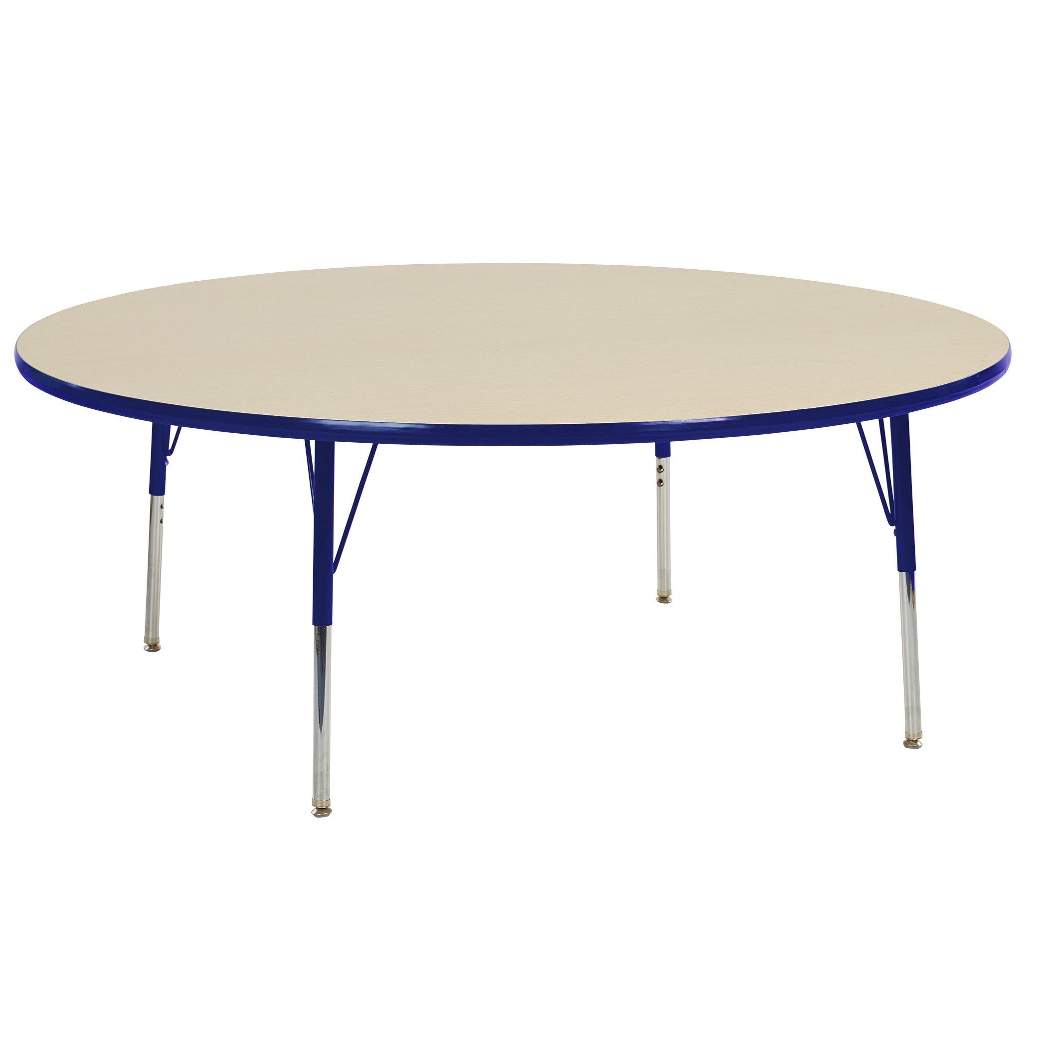 ECR4Kids T-Mold 60'' Round Activity School Table, Standard Legs w/ Swivel Glides, Adjustable Height 19-30 inch (Maple/Blue)