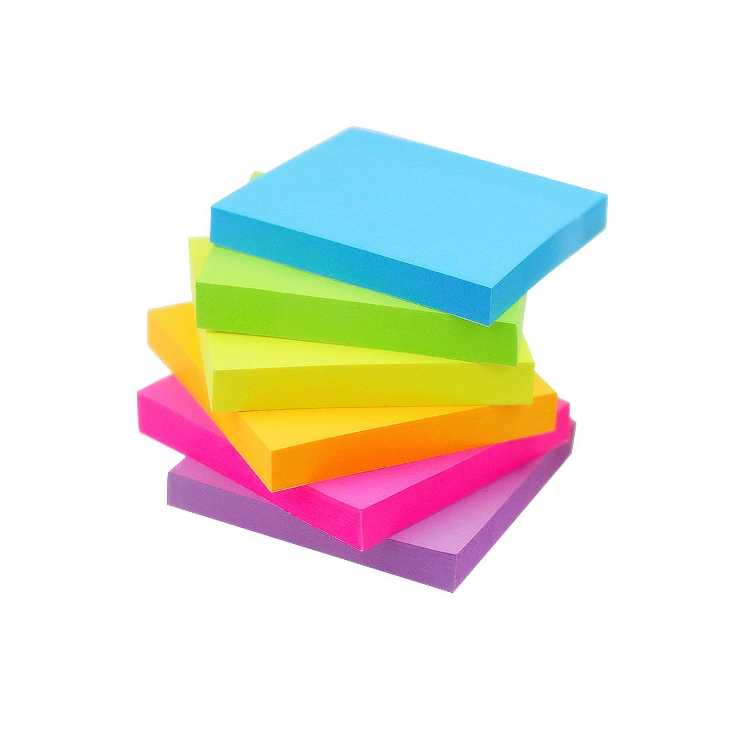 Early Buy Sticky Notes 6 Bright Color 48 Pads Self-Stick Notes 3 in x 3 in, 100 Sheets/Pad by Early Buy