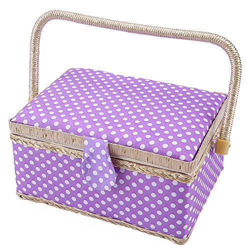 """SAXTX Classic Polka Dot Medium Sewing Basket with Tray - Include 31 Pcs Sewing Kit Accessories 