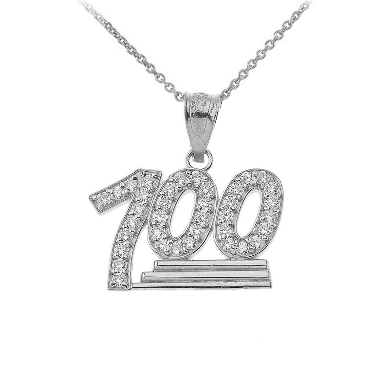 Fine 925 Sterling Silver Hip Hop Iced Out 100 Emoji Pendant Necklace with Cubic Zirconia