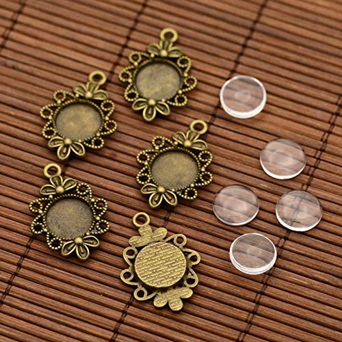 10Sets DIY Brass Settings Flat Round Clear Glass Cabochons Blank Pendant Tray