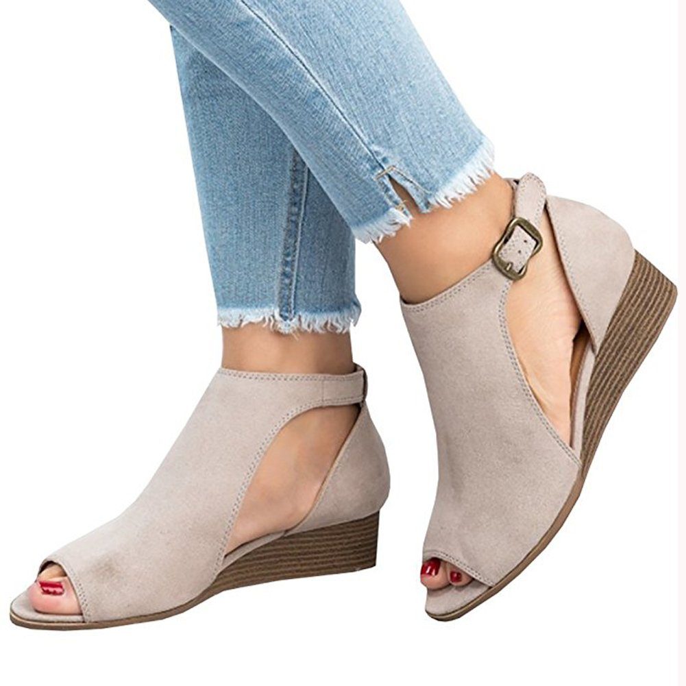 a09799eb0fe Womens Low Heel Wedge sandals Open Peep Toe Side Cut Out Ankle ...