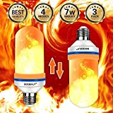 SIXDEFLY 3-Pack LED Flame Effect Fire Light Bulbs E26 4 Modes with Upside Down Effect Simulated Decorative Light Atmosphere Lighting Vintage Flaming Lamp for Holiday Hotel/Bar/Party/Home