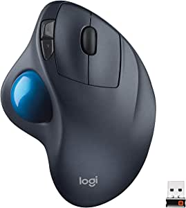 Logitech M570 Wireless Trackball Mouse – Ergonomic Design with Sculpted Right-Hand Shape, Compatible with Apple Mac and Microsoft Windows Computers, USB Unifying Receiver, Dark Gray