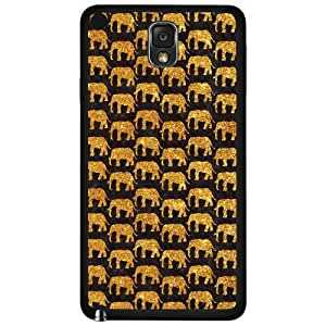 Gold and Black Elephants Hard Snap on Phone Case (Note 3 III)