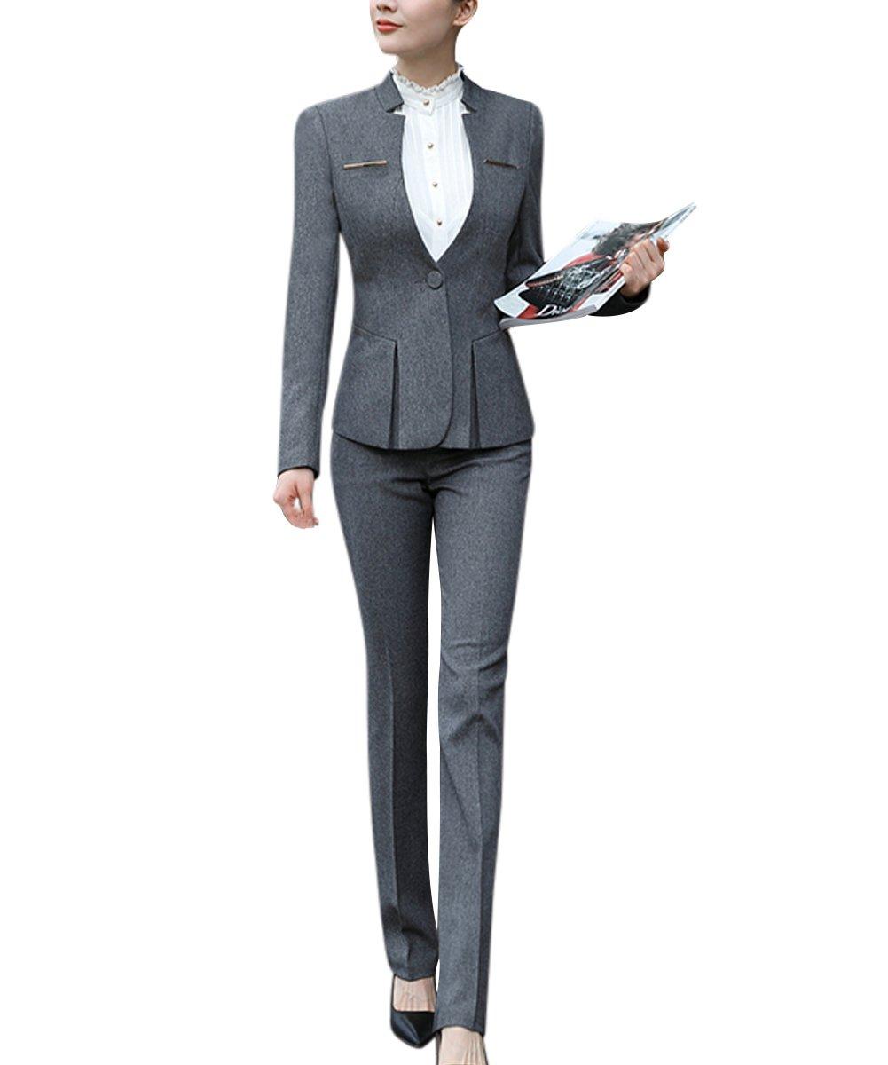 Women's Elegant Business Two Piece Office Lady Suit Set Work Blazer Pant (Suit Set-Dark Grey, M)