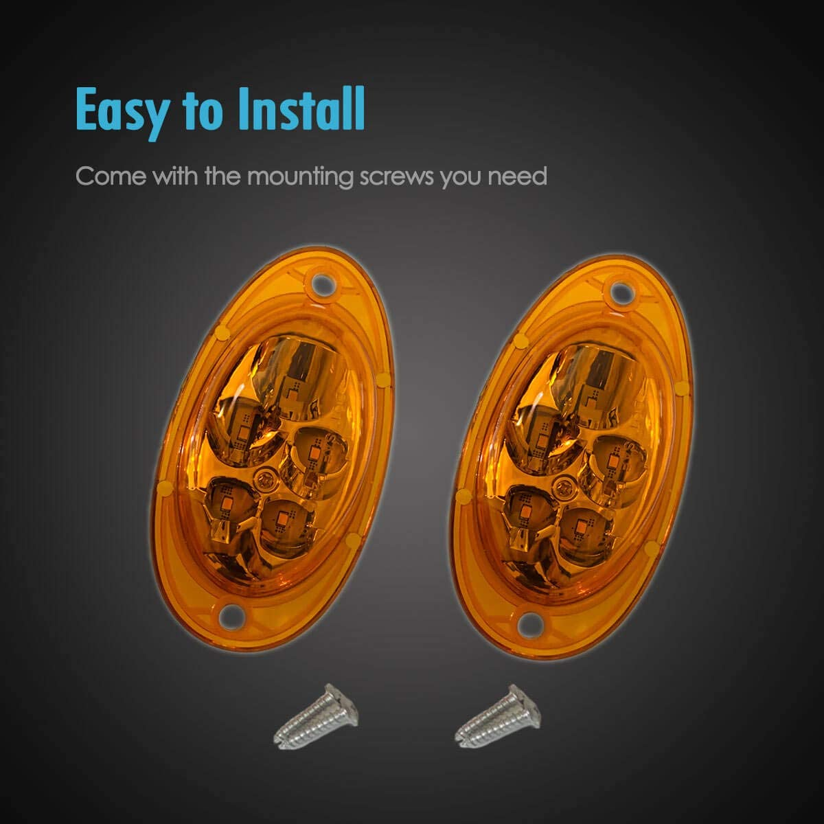 TCTAuto for Freightliner Cascadia Amber LED Side Marker Turn Signal Cab Parking Light Lamps Sealed 5-2835-SMD