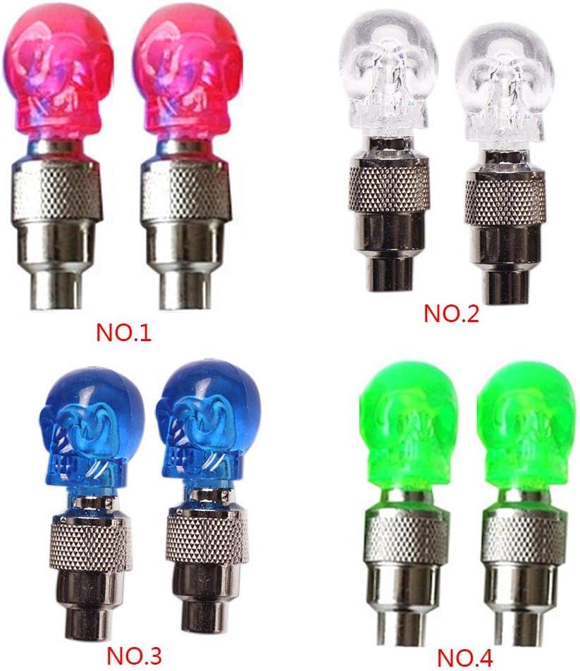 Lorsoul 2pcs//lot Multifuction Skull Shape Bike Tire Valve Cap Light Bicycle Motorcycle Car Wheel Neon LED Lamp Bulb