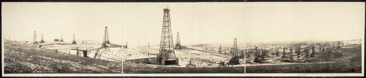 c1910 McKittrick Oil field 36'' Vintage Panorama photo