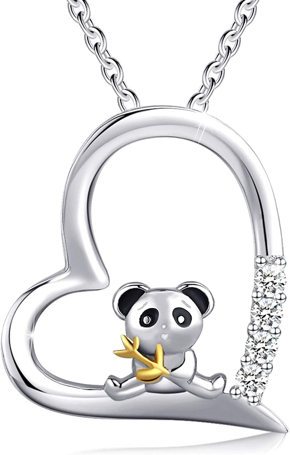 RBG Dissent Panda Necklace Panda Jewelry 925 Sterling Silver Bamboo Panda Bear Necklace for Women Animal Panda Lover Gift (A-Silver)