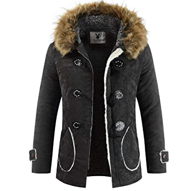 b2e07cf1416 BingYELH Men's Winter Thermal Hooded Faux Fur Collar Jacket Long Horns  Button Coat Duffel Coat Mid