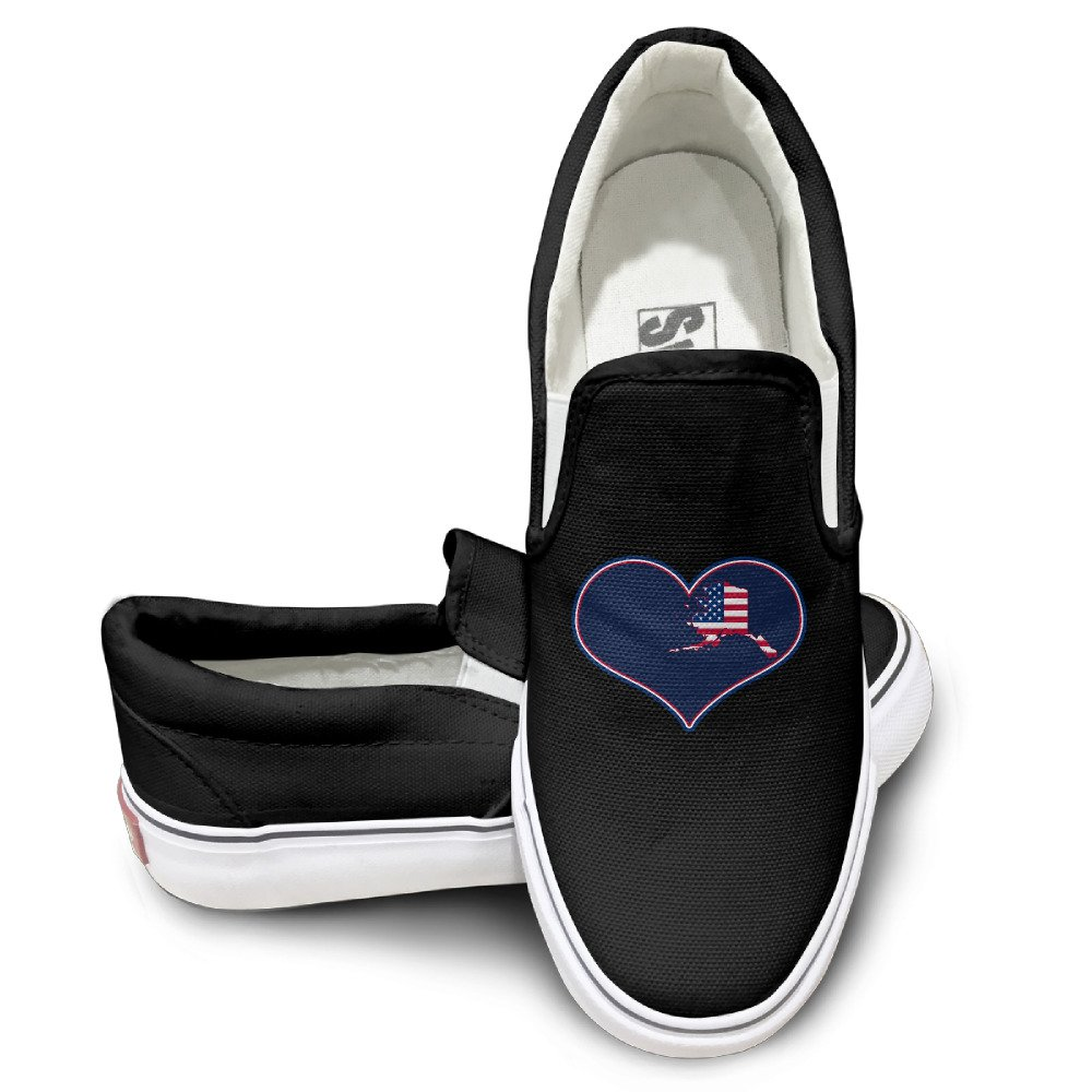 afe3abc9490c hot sale EWIED Unisex Classic I Love USA Alaska Flag Slip-On Shoes Black