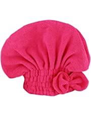 Coloré(TM) Hair Turban seche cheveux microfibre 100%, Bonnets de douche,serviette Turbie cheveux séchage serviette de bain Head Wrap Turban cheveux secs (Rose rouge)