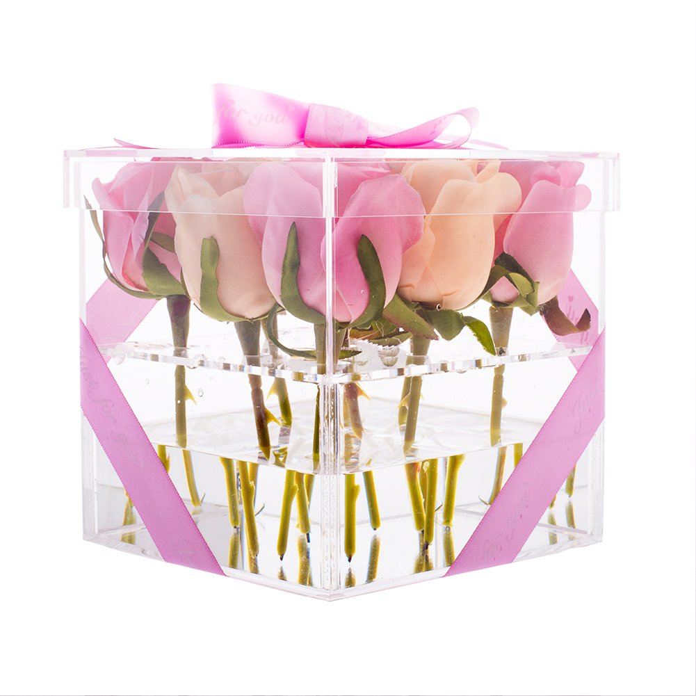 Choice Fun Acrylic Flower Box Water Holder Handmade Vase Rose Diagram Rosebox Clear Crystal Gift Pot Square With