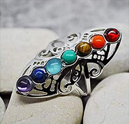 Lzz 925 Sterling Silver Healing Hollow Stone Adjustable 7 Chakra Ring Aura Gemstone Ring Rainbow Color Chakra Healing Style Female Ring