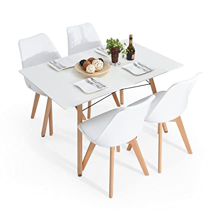 Conjunto de 4 sillas de comedor de madera maciza polainas ...