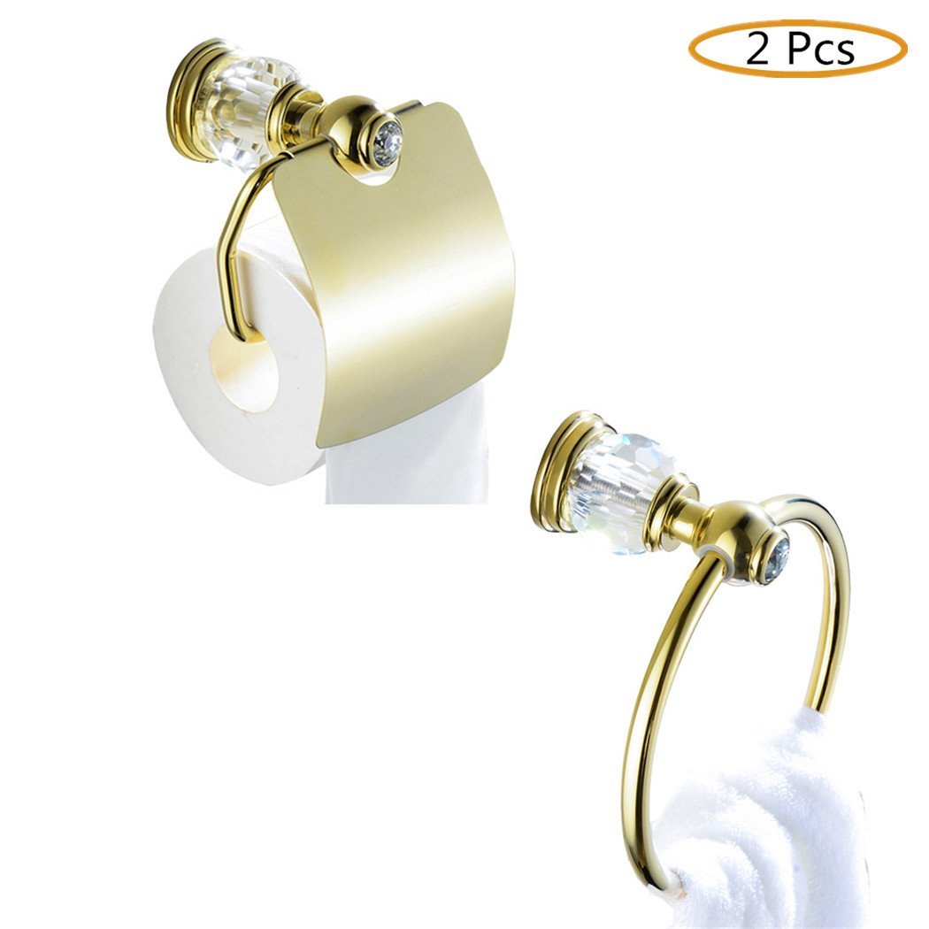 WINCASE All Brass Construction Bathroom Accessory Set 2pcs Polished Gold Towel Holder Paper Holder with Cover Wall Mounted Luxury European Style