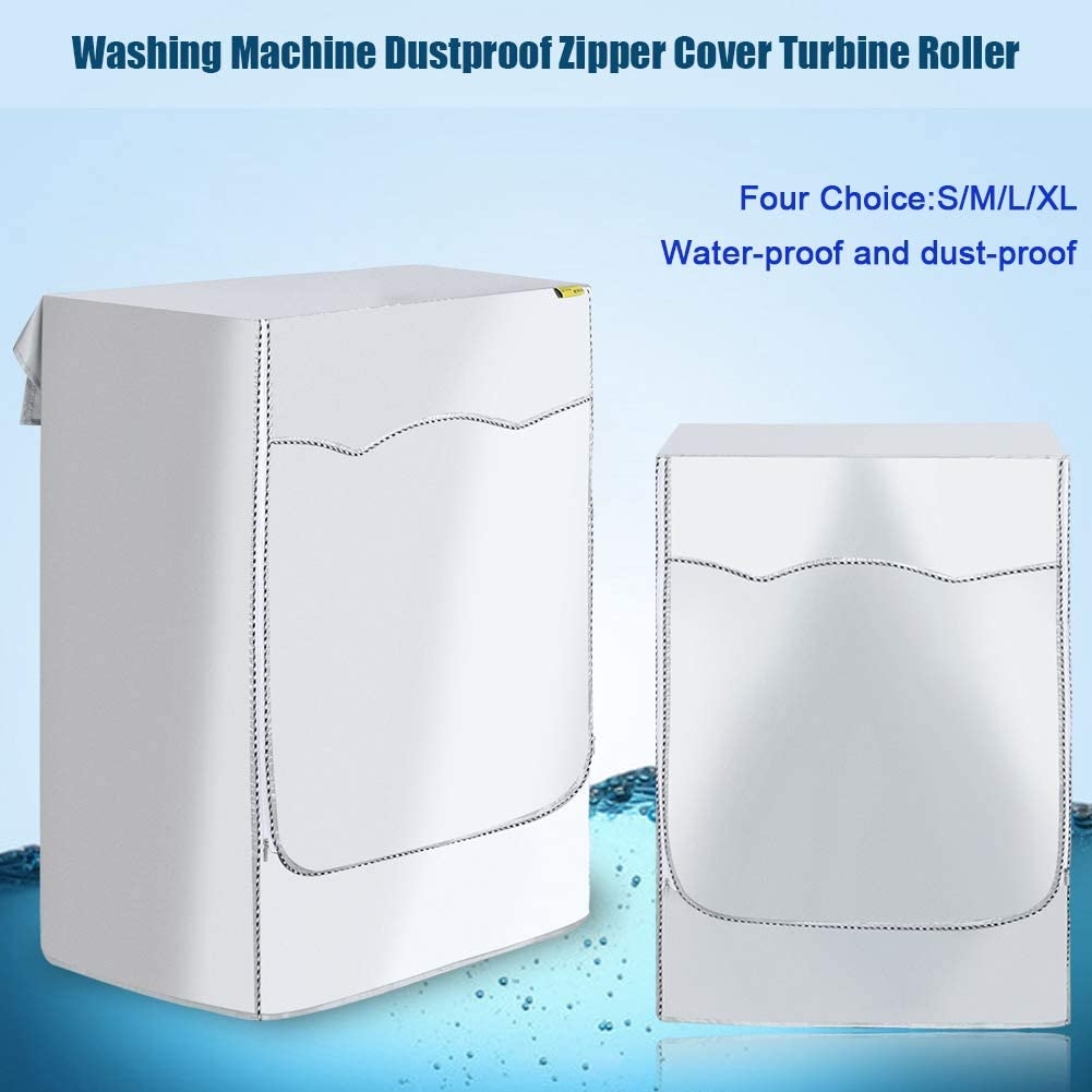 L 1Pc Washing Machine Dustproof Zipper Cover Turbine Roller Protection Washer Dryer Cover Fit Most Top Load or Front Load Washers Laundry Supply