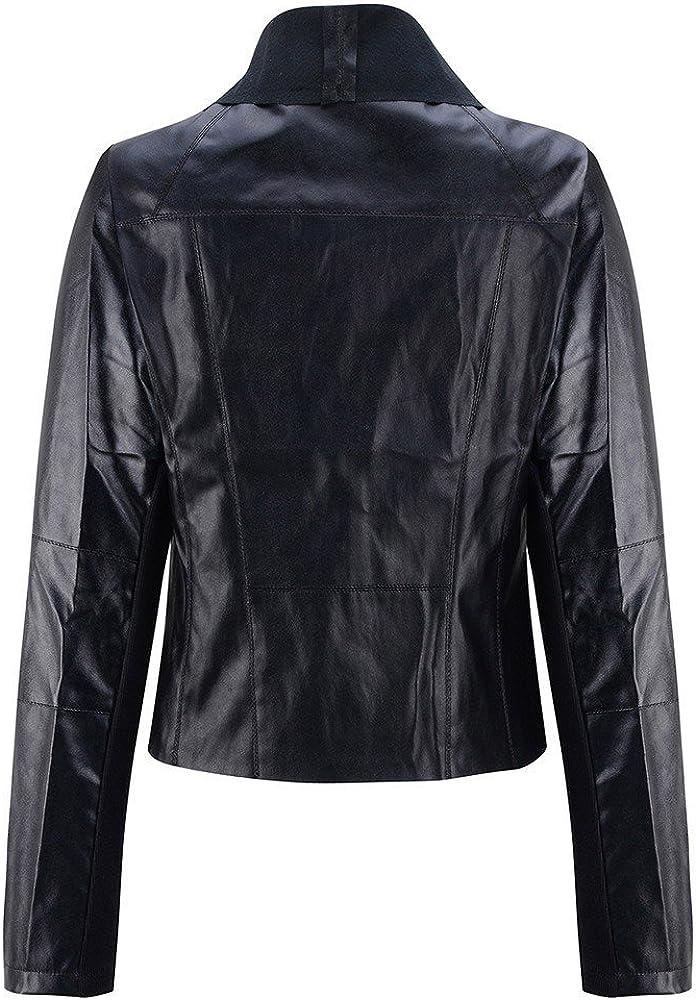 PXiong Women Punk Slim Biker Motorcycle Short Jacket Lapel Leather Coat Outwear