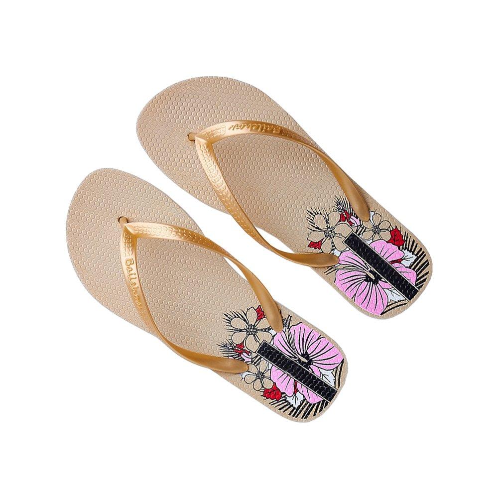 DULEE Damen Sommer Strand und Casual Flip Flops Thongs Sandalen Slipper  37 EU Gold