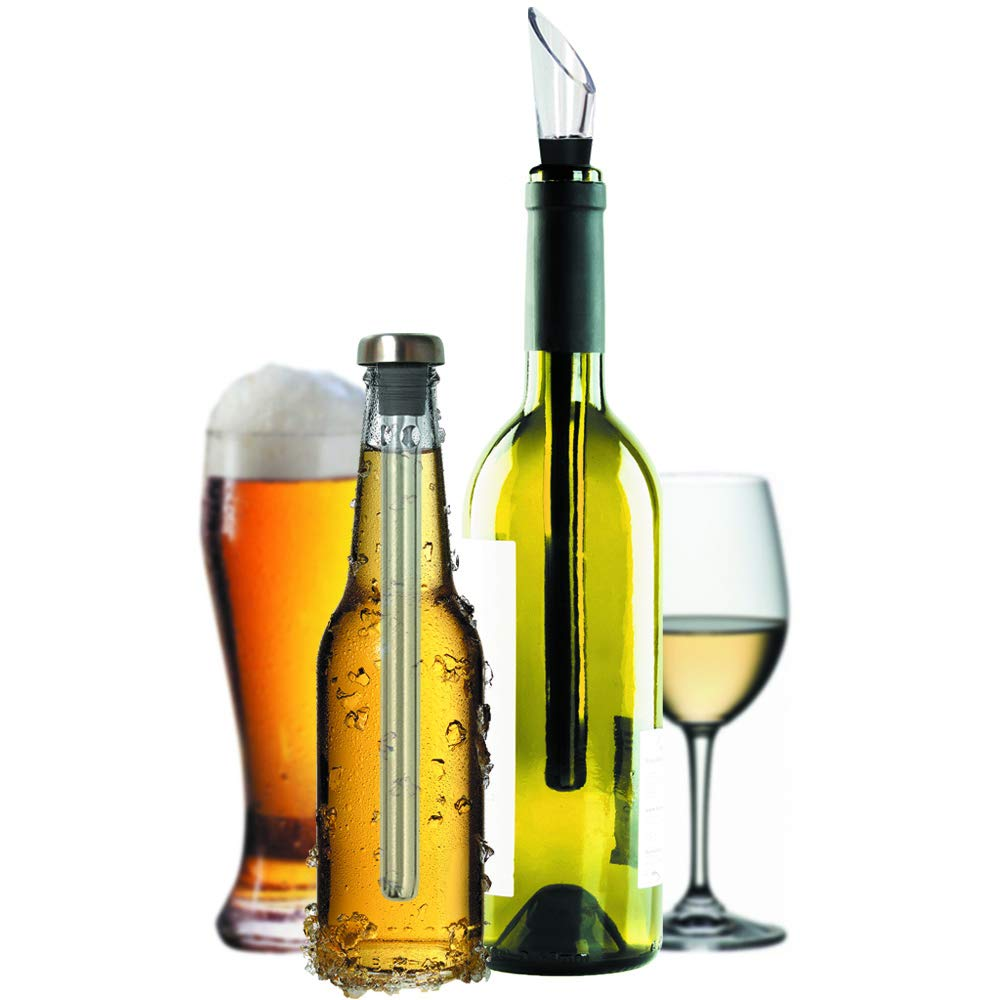 Unique Gift for Drinkers, Set of Wine and Beer Chiller Stick, Pack 2 Bottle Coolers - Aerator Pourer Accessories - Best Idea for Couples, St Patricks Day - Are Husband Wife Dad Mom Wine Beer Lovers?