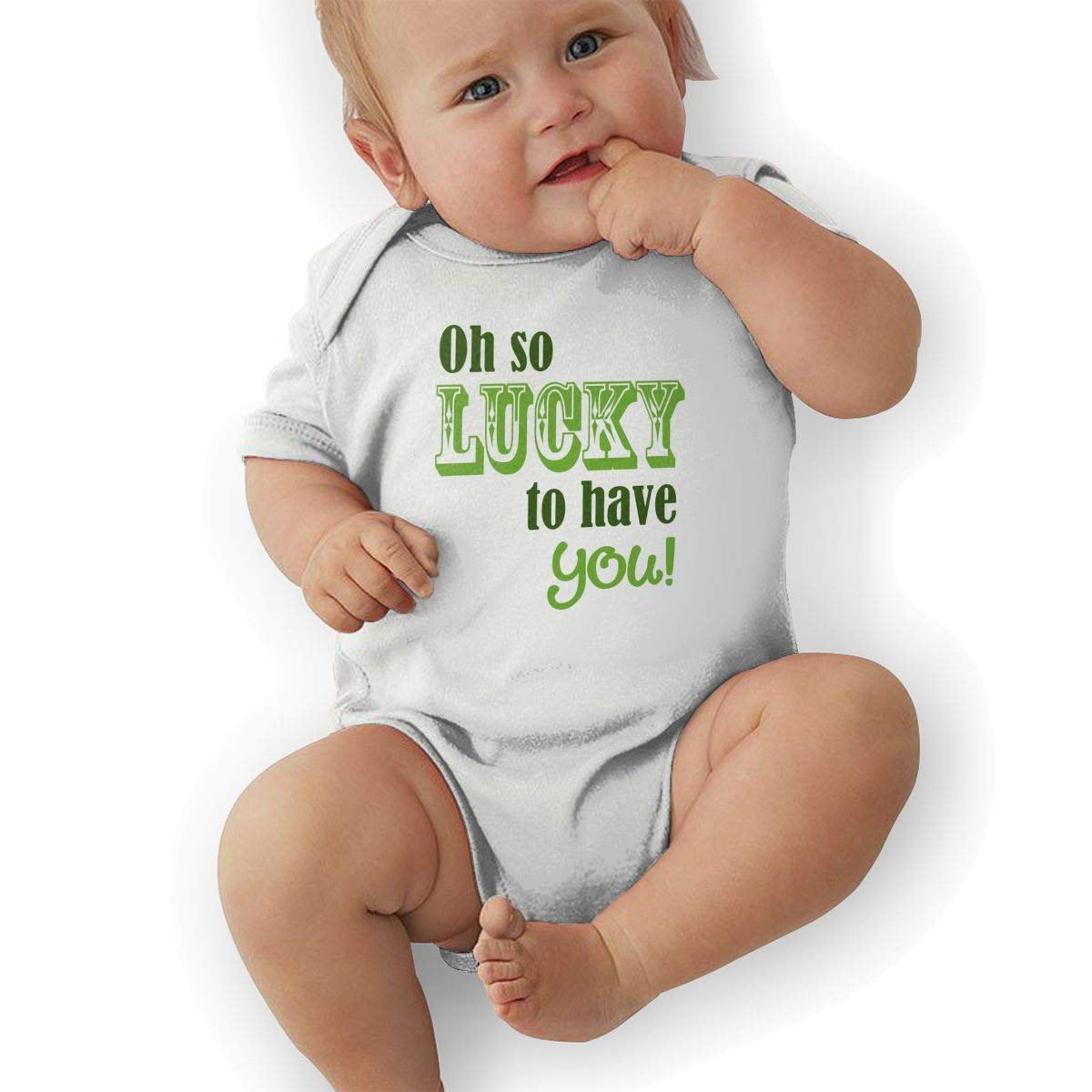 Infant Baby Girls Bodysuit Short-Sleeve Onesie Oh So Lucky to Have You Print Jumpsuit Summer Pajamas