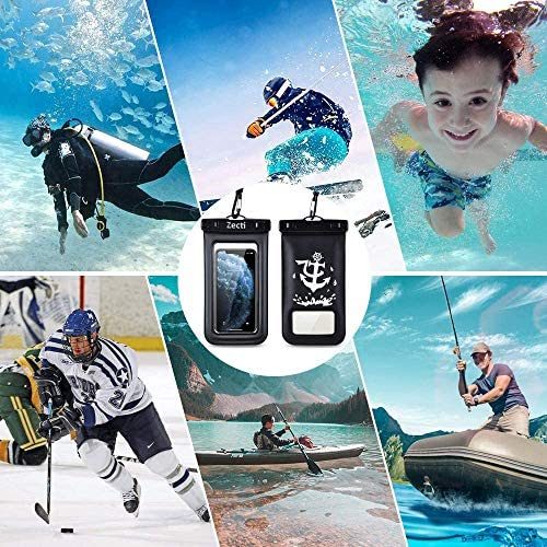 "Universal Waterproof Case, Zecti Waterproof Phone Pouch for iPhone 11 Pro Max XS Max XR X 8 7 6S Plus Samsung Galaxy s10/s9 Google Pixel 2 HTC Up to 7.0"",IPX8 Cellphone Dry Bag -2 Pack"
