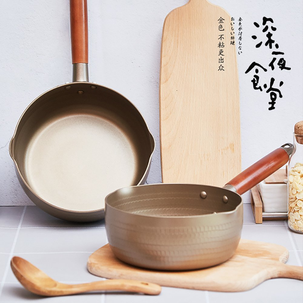 Ltd 7 inch 1.7 Quart Golden Non-Stick Coating Yukihira Saucepan Traditional Japanese Yukihira Pot Aluminum Alloy Stainless Steel Saucepan Milk Sauce Pan Wooden Handle Shenzhen city Gelisi Trading Co