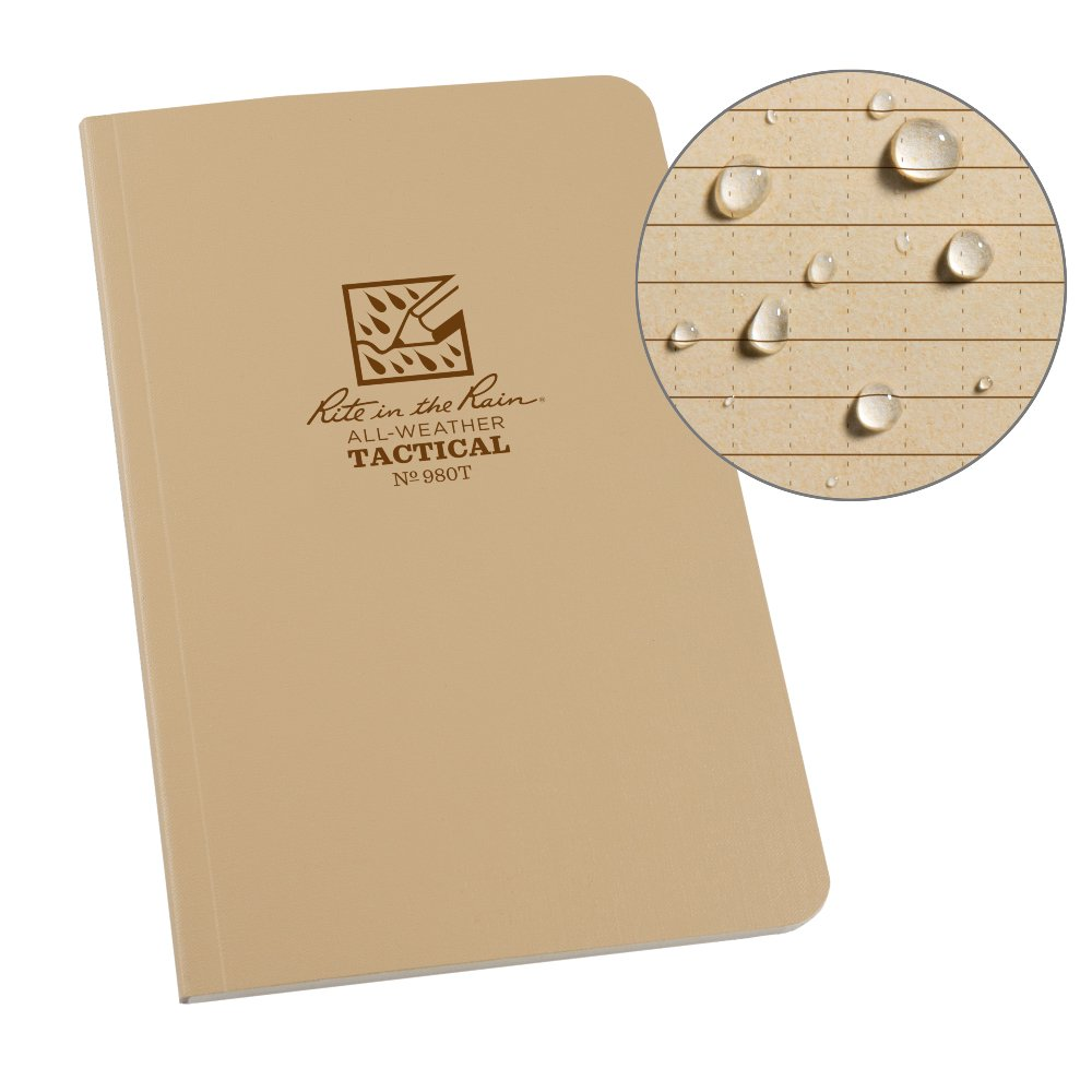 Rite in the Rain All Weather Tan Tactical Field Notebook, 4 5/8'' x 7'' Soft Cover Weatherproof Notepad, Universal Page Pattern, Reference Pages (No. 980T)