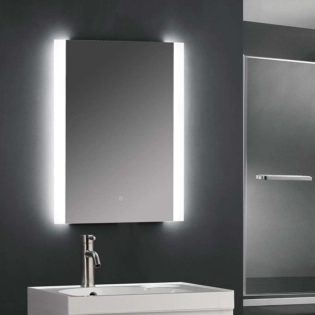 """SUNNY SHOWER 24"""" W x 32"""" H Backlit Led Bathroom Vanity Sink Silvered 4mm Mirror with Touch Button"""