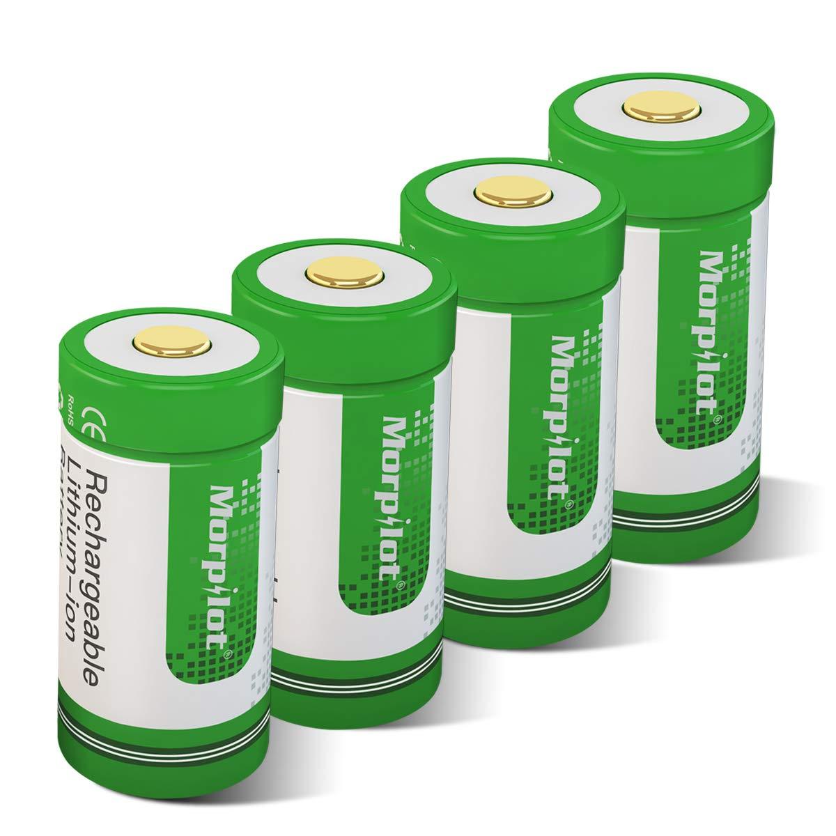 Morpilot RCR123A Batteria, CR123A Ricaricabile 3.7V 700mAh per Fotocamera Arlo, Caricare 500 Volte Riutilizzabile, Professionale per Fotocamera Arlo VMS3030/3130/3230/3330/3430(4PCS)