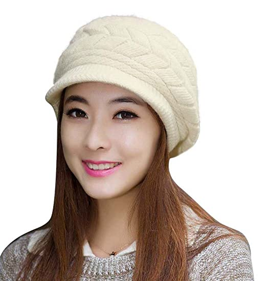 HINDAWI Women Winter Hats Knit Crochet Fashions Snow Warm Cap with Visor  Beige f057599b9
