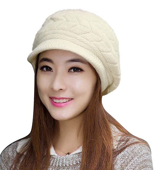 58dce366029bd HINDAWI Women Winter Hats Knit Crochet Fashions Snow Warm Cap with Visor  Beige at Amazon Women s Clothing store