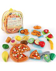 JoyGrow 31Pcs Cutting Food Toys Pretend Food Set with Storage Backpack, Play Food Cutting Pizza Fruits Vegetable Ice Cream Educational Learning Toys Gift for Boy Girl Kids