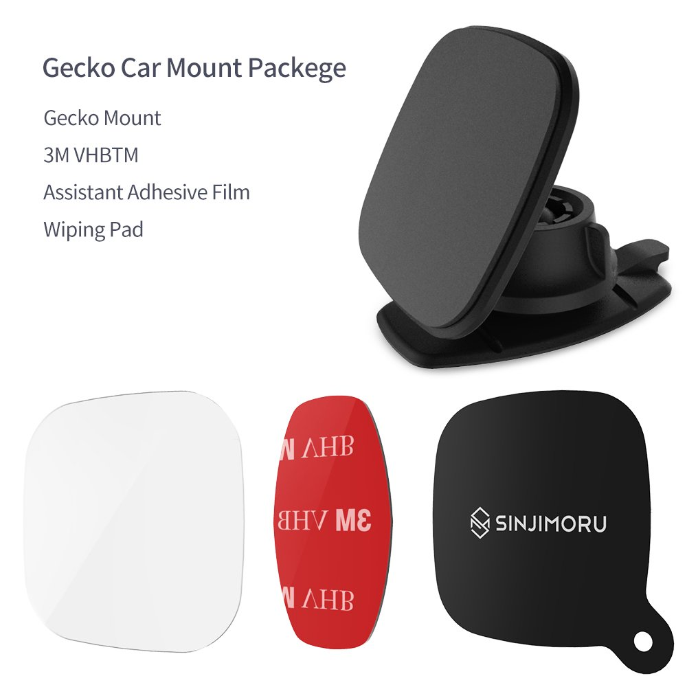 Gecko Black. Non-Magnetic Phone Holder for Car Sinjimoru Car Mount for Phone Compact Phone Mount Stick Phone Anywhere with The Strong Nano Pad Technology Car Mount for Phone Small Phone Holder