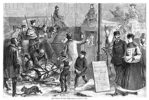 - New York Street Scene Nan Injured Horse Causing A Traffic Jam On A Street In New York City Wood Engraving After A Drawing By Charles G Bush 1868 Poster Print by (24 x 36)